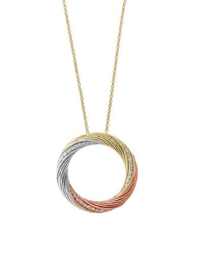Effy 0.11 TCW Diamond and 14K Trio Gold Swirl Pendant Necklace-TRI TONE-One Size
