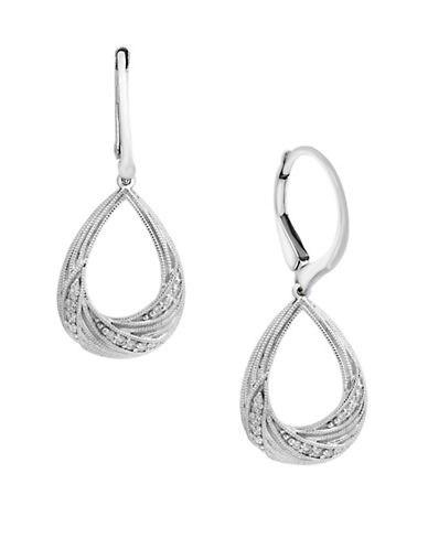 Effy 0.09 TCW Diamond and 14K White Gold Swirl Earrings-WHITE GOLD-One Size