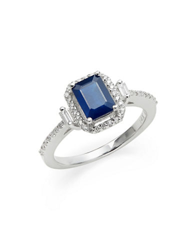 Effy 14K White Gold Sapphire and 0.29TCW Diamond Ring-BLUE-7