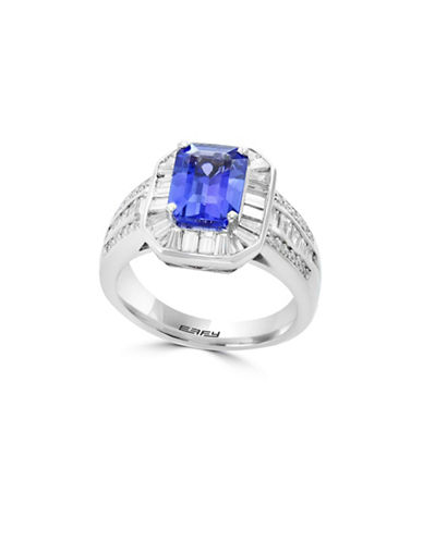 Effy 18K White Gold and Tanzanite Ring with 1.42 TCW Diamonds-BLUE-7