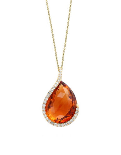 Miscellaneous 18K Yellow Gold and Citrine Pendant Necklace with 0.33 TCW Diamonds-YELLOW-One Size