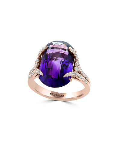 Miscellaneous 18K Rose Gold and Amethyst Ring with 0.47 TCW Diamonds-PURPLE-7