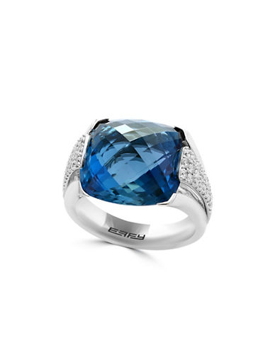 Miscellaneous 18K White Gold and  Blue Topaz Ring with 0.48 Diamonds-BLUE-7
