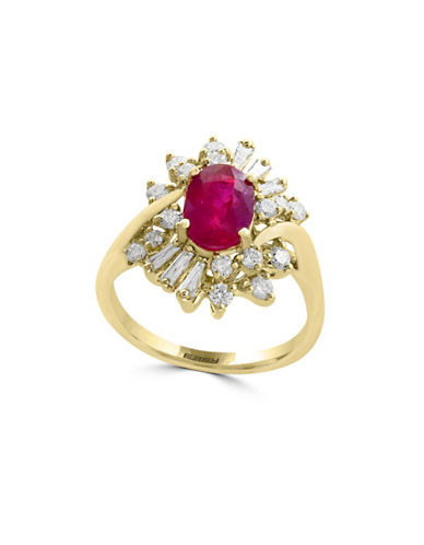 Effy 0.61TCW Diamonds, Natural Ruby and 14K Yellow Gold Ring-RUBY-7