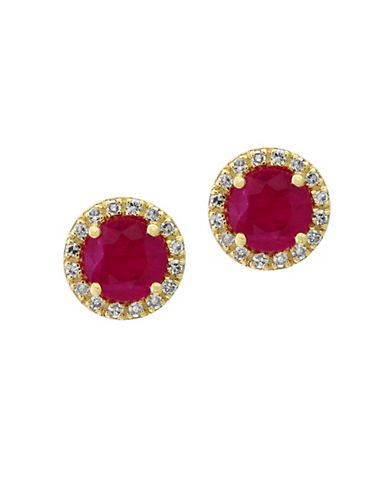Effy 0.13TCW Diamonds, Natural Ruby and 14K Yellow Gold Stud Earrings-RED-One Size
