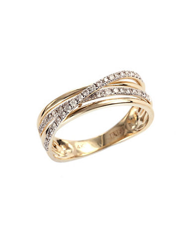 Effy 14K Yellow Gold Layered Ring  with 0.29 tcw Diamonds-GOLD-8