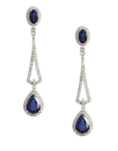 Effy 14K White Diamond Drop Earrings with Sapphire and 0.13 TCW Diamonds-BLUE-One Size