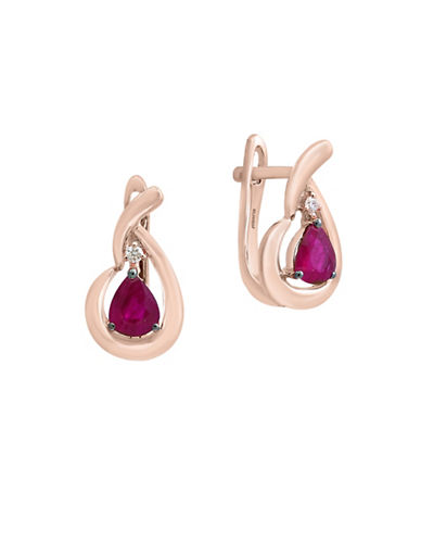 Effy Natural Ruby and 0.02 TCW Diamonds 14K Rose Gold Omega Clip Earrings-RUBY-One Size