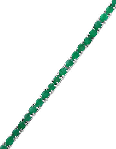 Effy Sterling Silver and Emerald Bracelet-GREEN-One Size