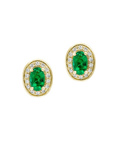 Effy Diamonds, Natural Emerald and 14K Yellow Gold Stud Earrings-GREEN-One Size