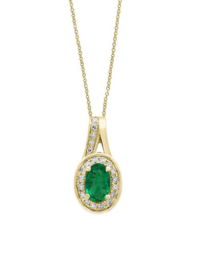 Effy Diamonds, Natural Emerald and 14K Yellow Gold Pendant Necklace-GREEN-One Size