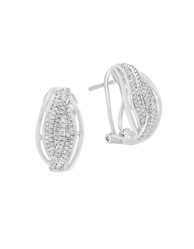 Effy 0.44 TCW Diamond and  Sterling Silver Stud Earrings-WHITE-One Size