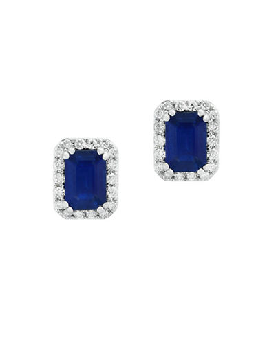 Effy 14K White Gold Sapphire and 0.19TCW Diamond Stud Earrings-SAPPHIRE-One Size