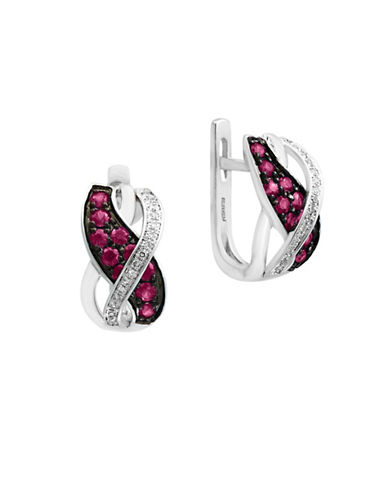 Effy 0.07 TCW Diamond, Natural Ruby and 14K White Gold Earrings-RUBY-One Size