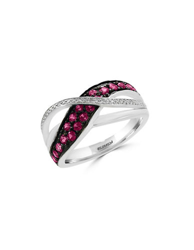 Effy 0.07 TCW Diamond, Natural Ruby and 14K White Gold Ring-RUBY-7