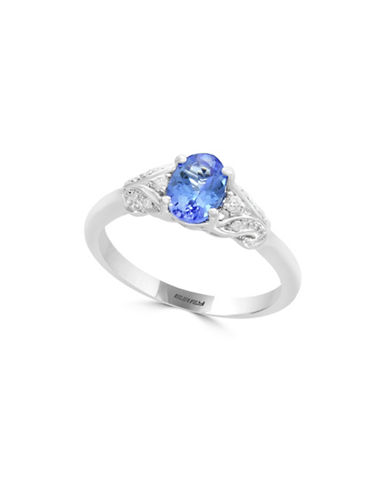 Effy 14K White Gold and Tanzanite Ring 0.05 TCW Diamonds-BLUE-One Size