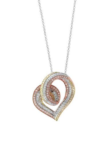 Effy 14K Trio Gold Heart Pendant Necklace with 0.69TCW Diamonds-TRI COLOR-One Size