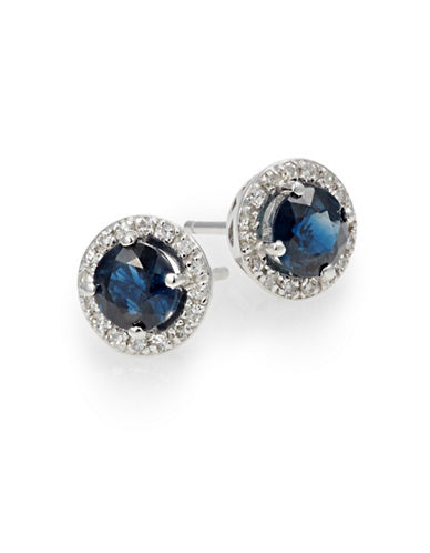 Effy 14K White Diamond Earrings with Sapphire and 0.13 TCW Diamonds-BLUE-One Size