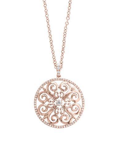 Effy 14K Rose Gold Scroll Pendant Necklace with 0.46TCW Diamonds-ROSE GOLD-One Size