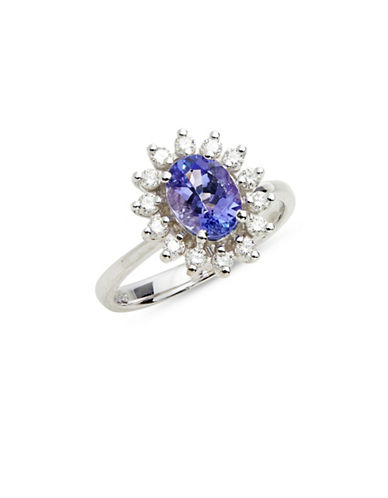 Effy 14K White Gold Ring with Tanzanite and 0.34 TCW Diamonds-BLUE-One Size
