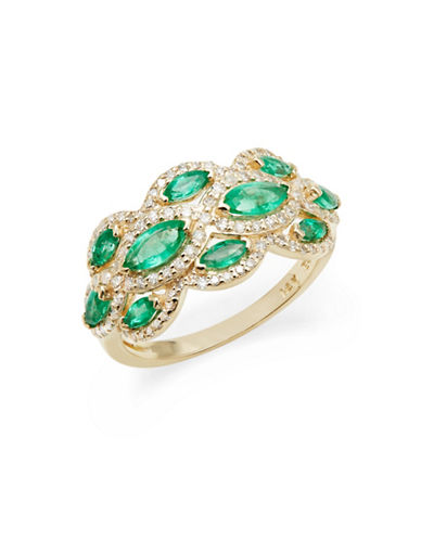 Effy 14K Yellow Gold Emerald and 0.41TCW Diamond Scatter Ring-GREEN-7