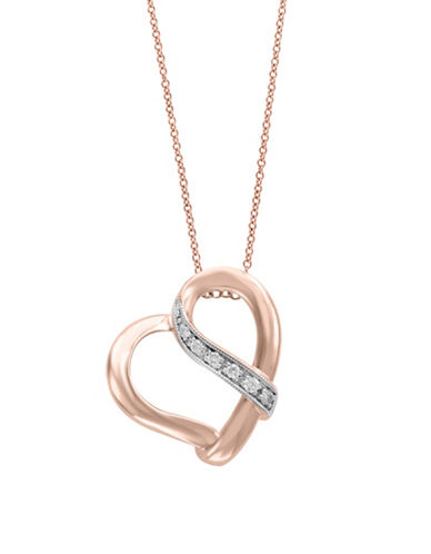 Effy 14K Rose Gold Heart Pendant Necklace with 0.05 TCW Diamonds-ROSE GOLD-One Size
