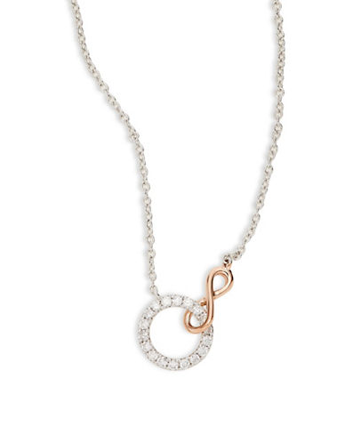 Effy 14K White Gold, Rose Gold Circle Pendant Necklace with 0.21 TCW Diamonds-ROSE GOLD-One Size
