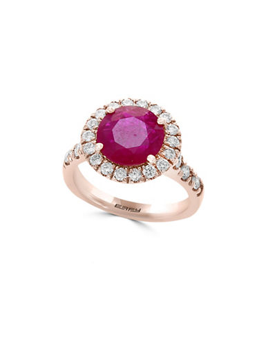 Effy 14K Rose Gold and Ruby Ring with 0.74 TCW Diamonds-RED-7