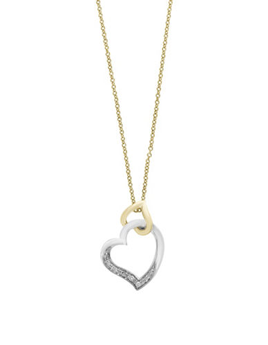 Effy Two-tone 14K Gold Heart Pendant Necklace with 0.04 TCW Diamonds-GOLD-One Size