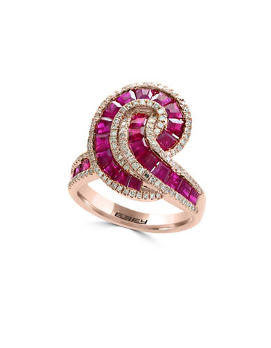 Effy 14K Rose Gold and Ruby Ring with 0.52 TCW Diamonds-RED-7