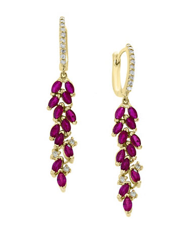 Effy 14K Yellow Gold and Ruby Cluster Drop Earrings with 0.24 TCW Diamonds-RED-One Size