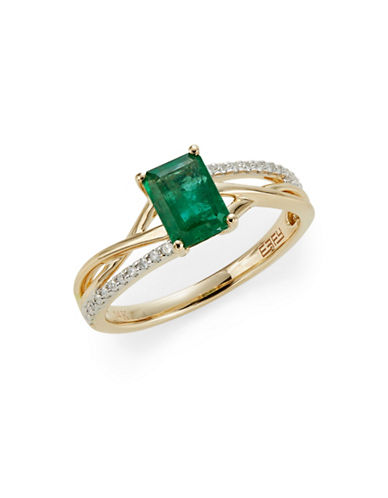 Effy 14K Yellow Gold Emerald and 0.09TCW Diamond Twist Ring-GREEN-7
