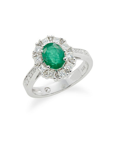 Effy 14K White Gold Emerald and 0.72TCW Diamond Oval Ring-GREEN-7