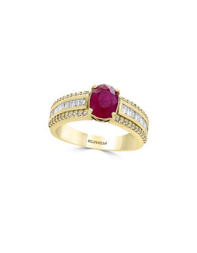 Effy 0.43 TCW Diamond, Ruby and 14K Yellow Gold Three-Row Ring-RUBY-7