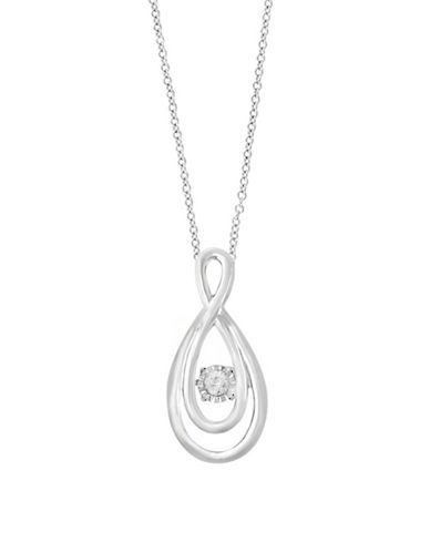 Miscellaneous Sterling Silver Pendant Necklace with 0.1 TCW Diamond-SILVER-One Size