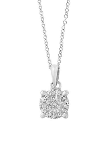 Miscellaneous Sterling Silver Pendant Necklace with 0.11 TCW Diamond-SILVER-One Size