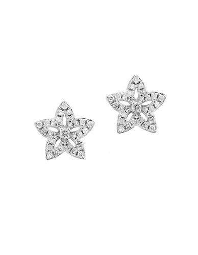Effy 14K White Gold Floral Stud Earrings with 0.22 TCW Diamond-DIAMOND-One Size