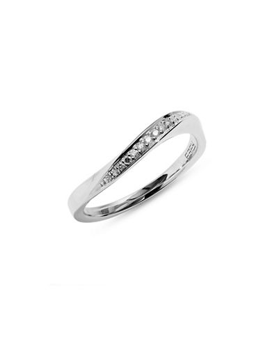 Effy 14K White Gold Wavy Ring with 0.08 TCW Diamonds-WHITE GOLD-7