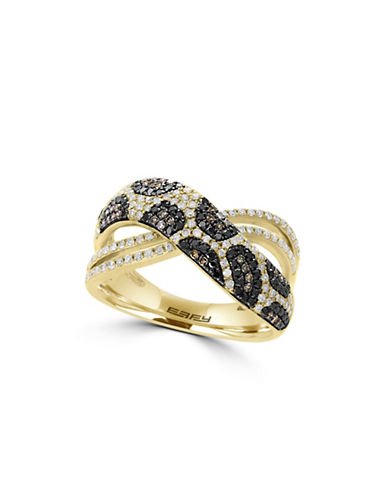 Effy 14K Yellow Gold Ring with 0.69 TCW Diamond, Black Diamond, Espresso Diamond-GOLD-7