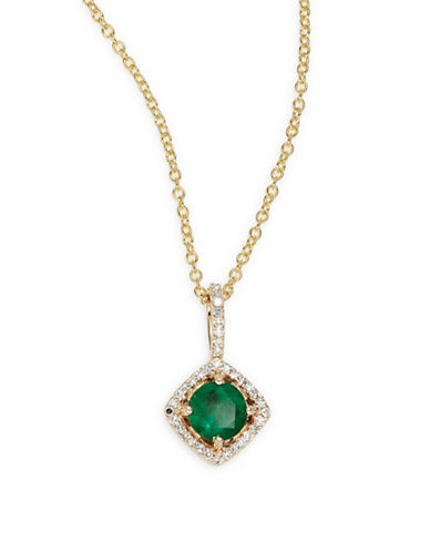 Effy 14K Yellow Gold Emerald and 0.11TCW Diamond Pendant Necklace-GREEN-One Size