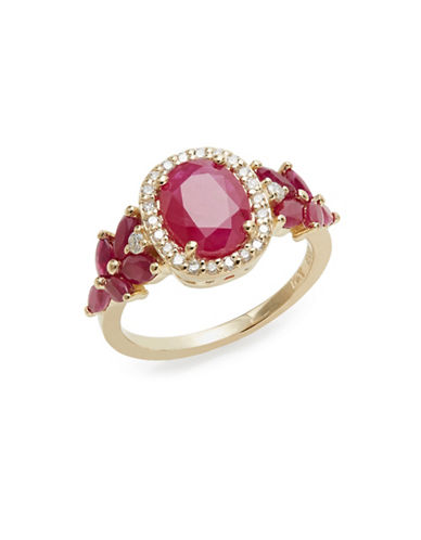 Effy 14K Yellow Gold Ruby and 0.21TCW Diamond Oval Ring-RED-7