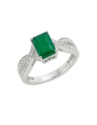 Effy 14K White Gold Emerald and 0.21TCW Diamond Twist Ring-GREEN-7