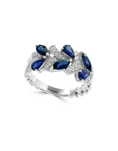 Effy 14K White Gold and Sapphire Ring with 0.14 TCW Diamonds-BLUE-One Size