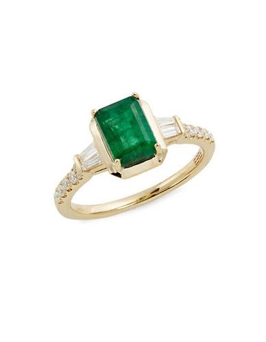 Effy 14K Yellow Gold Emerald and 0.24TCW Diamond Ring-GREEN-7