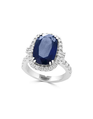 Effy 18K White Gold and Sapphire Ring with 0.95 TCW Diamonds-BLUE-7