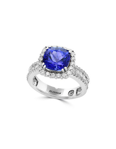 Effy 18K White Gold and Tanzanite Ring with 0.95 Diamonds-BLUE-7