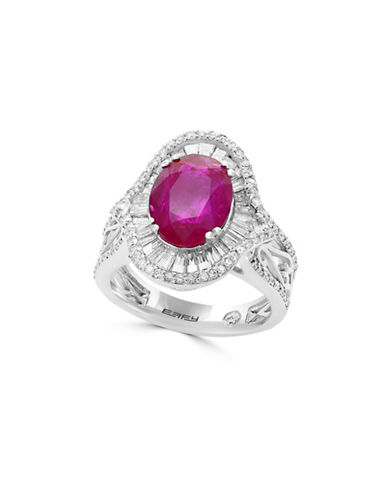 Effy 18K White Gold and Ruby Ring with 1.15 TCW Diamonds-RED-7
