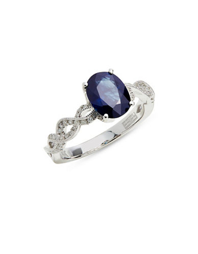 Effy 14K White Gold Ring with Sapphire and 0.21 TCW Diamonds-BLUE-One Size