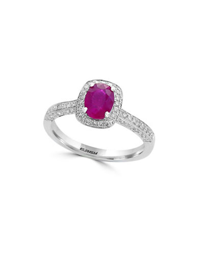 Effy 14K White Gold amd Ruby Studded Halo Ring with 0.37 TCW Diamonds-RED-7
