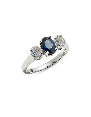 Effy 14K White Gold Ring with Sapphire and 0.24 TCW Diamonds-BLUE-One Size